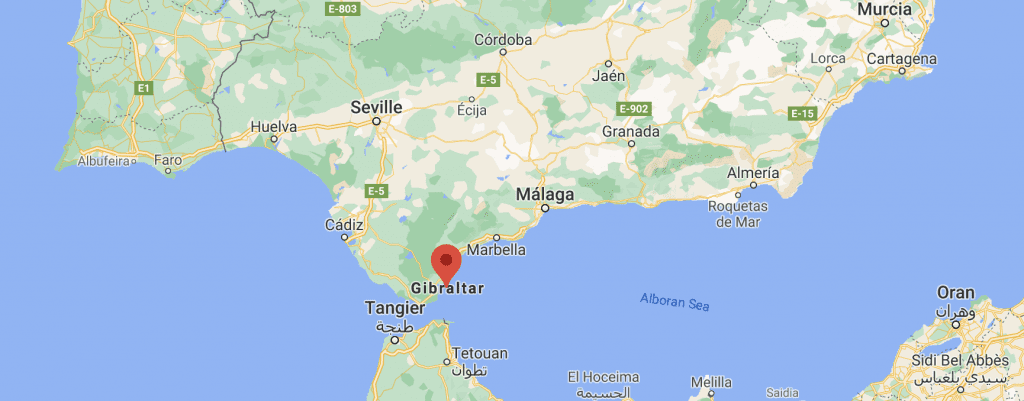 Map of Gibraltar and the surrounding area